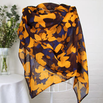 'Mustard And Plum Leaves' 100% Wool Voile Scarf Wrap