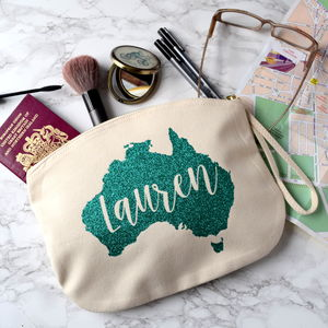 Personalised Glittery Destination Travel Pouch - make-up & wash bags