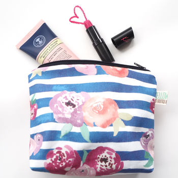 Small Handmade Floral Stripe Make Up Bag