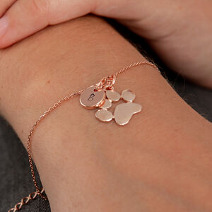 Rose Gold Paw Print And Initial Bracelet