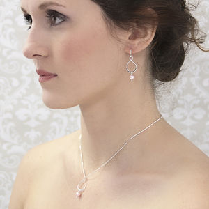 Aida Pink Pearl Pendant And Earring Set - necklaces & pendants