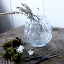 Glass Embossed Leaves Vase