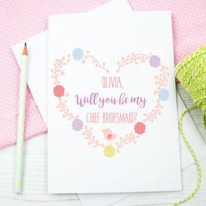 Personalised Will You Be My Chief Bridesmaid Card - be my bridesmaid?