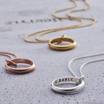 Personalised Secret Script Ring Necklace available in various metal finishes