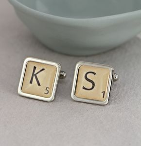 Personalised Letter Tile Cufflinks - gifts for him
