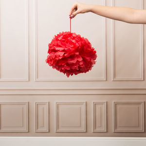 Pack Of Three Red Pom Poms