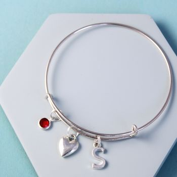 Personalised Heart Silver Initial Birthstone Bangle