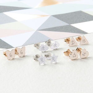 Personalised Initial Stud Earrings - wedding jewellery