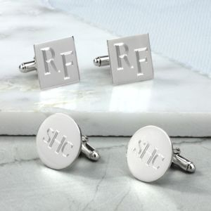 Silver Roman Monogram Cufflinks - new gifts for him