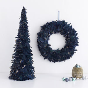 Teal Feather Door Wreath Or Christmas Tree Decoration - wreaths