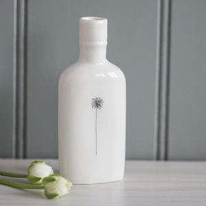 Dandelion Clock Porcelain Bottle Vase