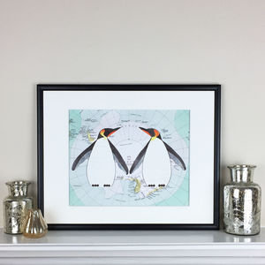 Two Penguin Friends On Antarctic Map