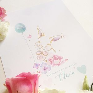 Personalised Gold Bonny Bunny Print - christening gifts