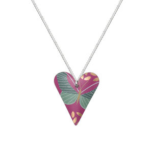 Fuchsia Pink Butterfly Heart Necklace