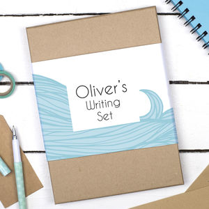 Personalised Sea Waves Writing Set - notelets & writing paper