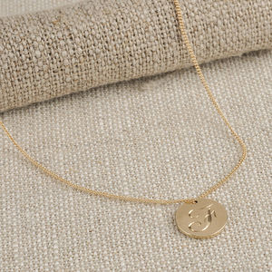 Medium Double Sided Solid Gold Disc Initial Necklace