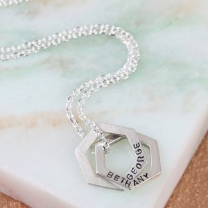Personalised Silver Interlocking Hexagons Necklace - necklaces & pendants
