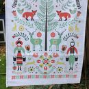 100% Cotton Woodland Tea Towel In A Christmas Style