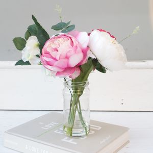 White And Pink Peony Bouquet In Vase - faux flowers