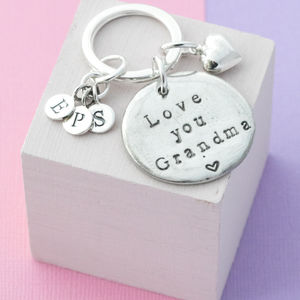 Personalised Love You Grandma Keyring - womens