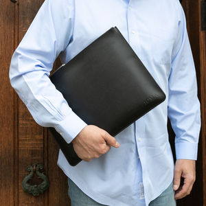 Personalised Luxury Leather Laptop Case - tech accessories for him
