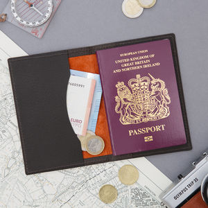 World Traveller Leather Passport Wallet - wallets & money clips