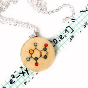 Chocolate Molecule Wooden Science Necklace