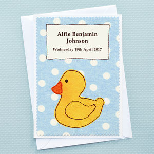 'Duck' Personalised New Baby Card