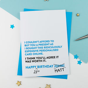 Funny Personalised Birthday Card By A Is For Alphabet