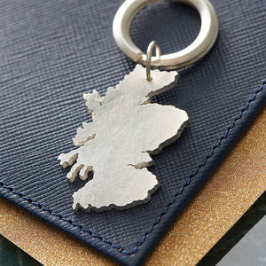 Personalised Silver Coastal Outline Keyring - for your other half