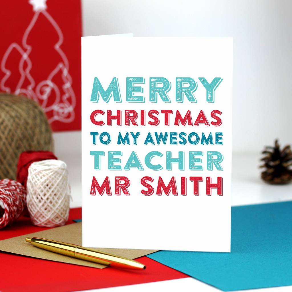 Merry Christmas Personalised Teacher Greetings Card By Do