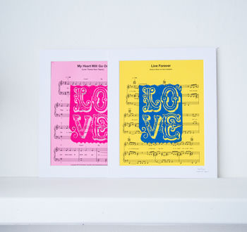 Any Colour Personalised Sheet Music Love Print