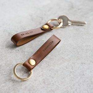 Personalised Leather Loop Keyring - personalised gifts for him