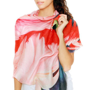 Cashmere Silk Ladies Scarf, Florida Flamingos - pashminas & wraps