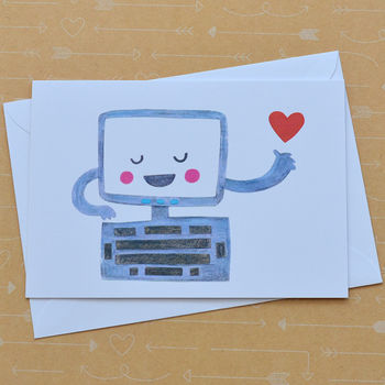 Computer Love Illustrated Card