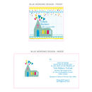Personalised Christening Invites Church+hearts design in blue