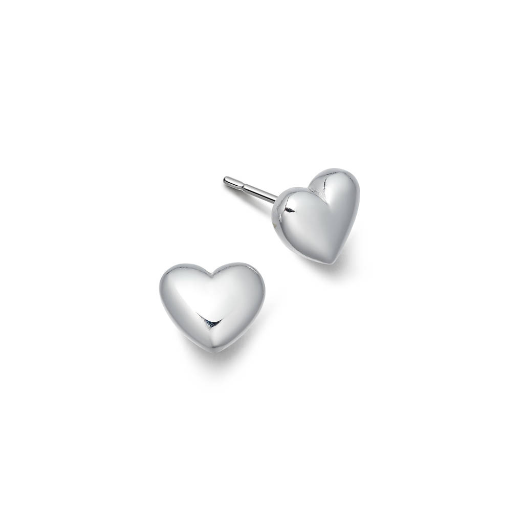 silver stud heart polished az puffed earrings high sterling pmr jewelry bling