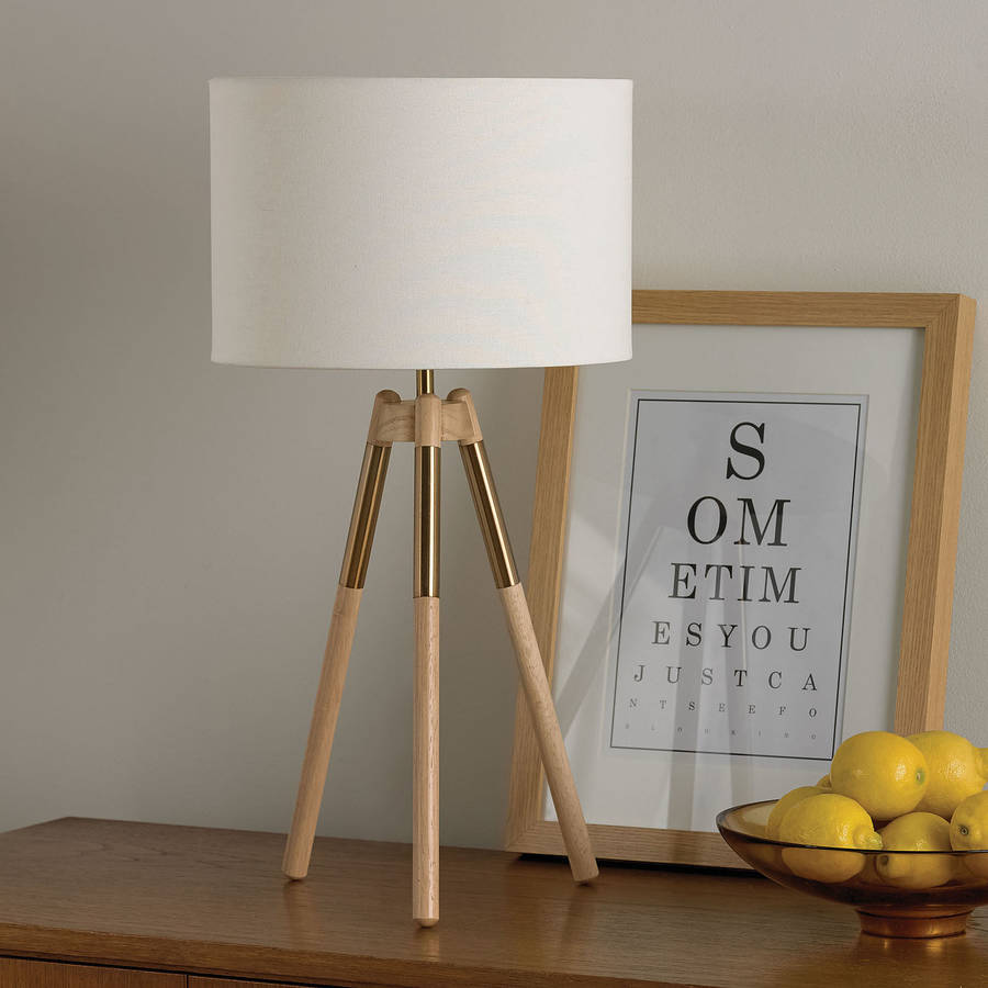 wooden tripod table lamp by primrose plum. Black Bedroom Furniture Sets. Home Design Ideas