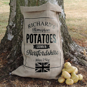 Personalised Hessian Vegetable Sack - gifts for him sale