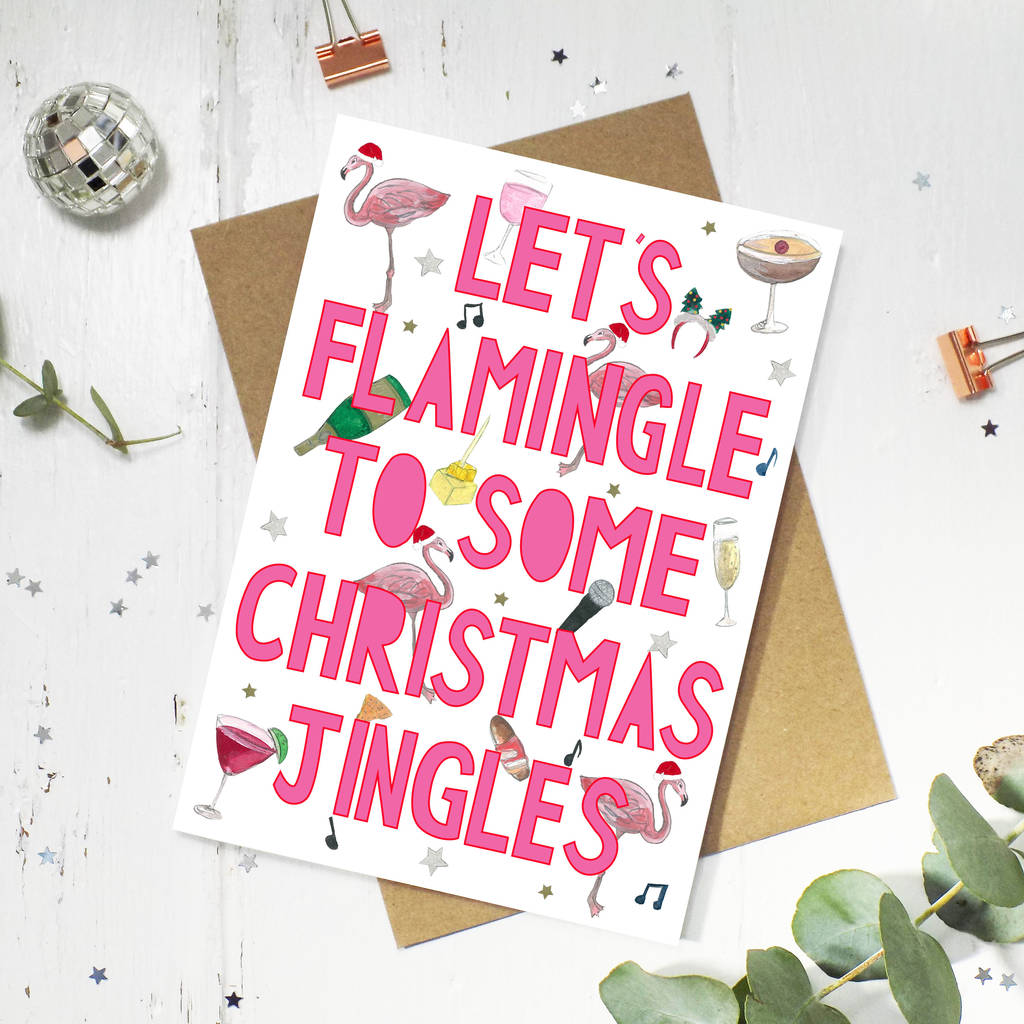 funny flamingo christmas card by miss bespoke papercuts ...