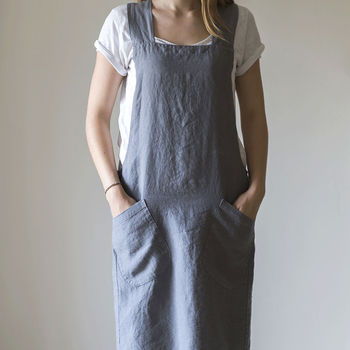 Charcoal Linen Artisan Cross Over Apron
