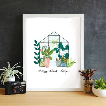 Crazy Plant Lady Illustrated Print