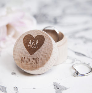 Personalised Heart And Initial Wedding Ring Box - keepsakes