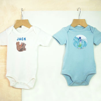 Personalised Little Bear New Baby Boy Babygro Set