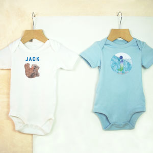 Personalised Baby Bear And Mountain Babygrow Set
