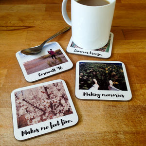 Personalised Polaroid Style Drinks Coasters - gifts for him