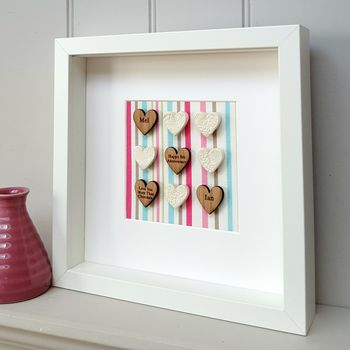 Candy Stripe 6th Anniversary Pottery Oak Hearts Artwork