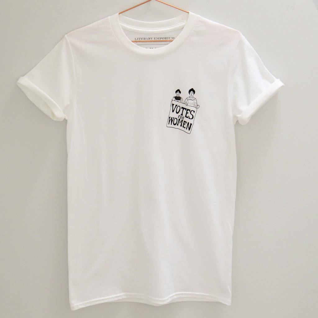 votes for women charity t shirt by literary emporium