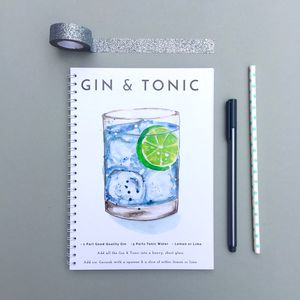 Gin And Tonic Watercolour Cocktail Notebook