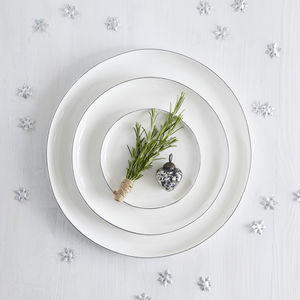 Handmade White Plates With Platinum Edging